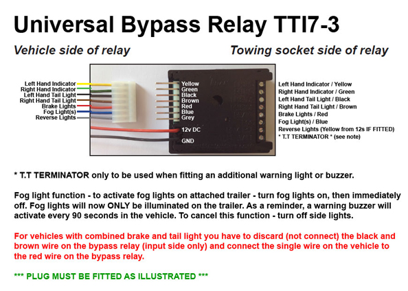 Universal 7 Way Bypass Relay Towing Electrics Towbar Wiring